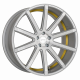 CORSPEED DEVILLE hliníkové disky 9x21 5x108 ET40 Silver-brushed-Surface/ undercut Color Trim yellow