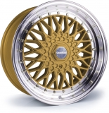DARE MOTORSPORT RS hliníkové disky 7x15 4x100-4x108 ET20 Gold Polished / Chrome Rivets